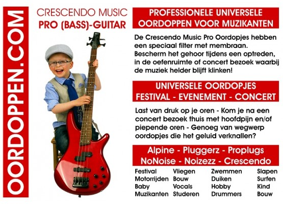 Promo Flyer Crescendo Oordopjes Guitar 111 x 80mm Rood