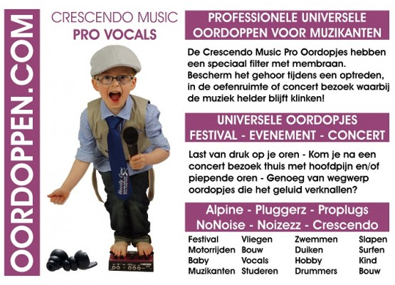 Promo Flyer Crescendo Oordopjes Vocals 111 x 80mm Paars